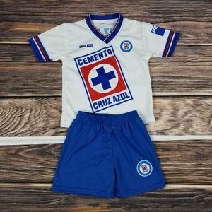 Cruz azul Kids outfit, White Retro Soccer uniform